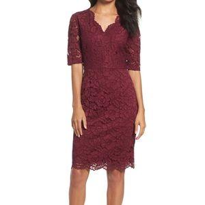 Ellen Tracy Wine Red Lace Sweetheart Sheath Dress